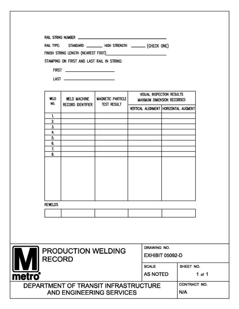 PART 18 - EXHIBIT C PRODUCTION WELDING RECORD SPN-0069 Rev. 6 - 12/31/2015 Thermite Welding Services