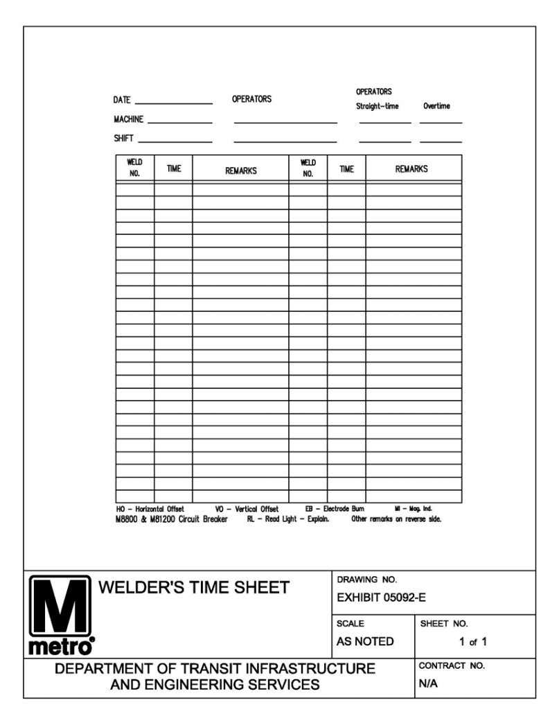 EXHIBIT D PART 19 - WELDER'S TIME SHEET SPN-0069 Rev. 6 - 12/31/2015 Thermite Welding Services