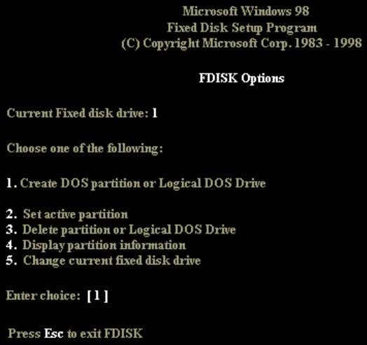 now be presented with the FDISK main menu as shown below. From the menu, choose option