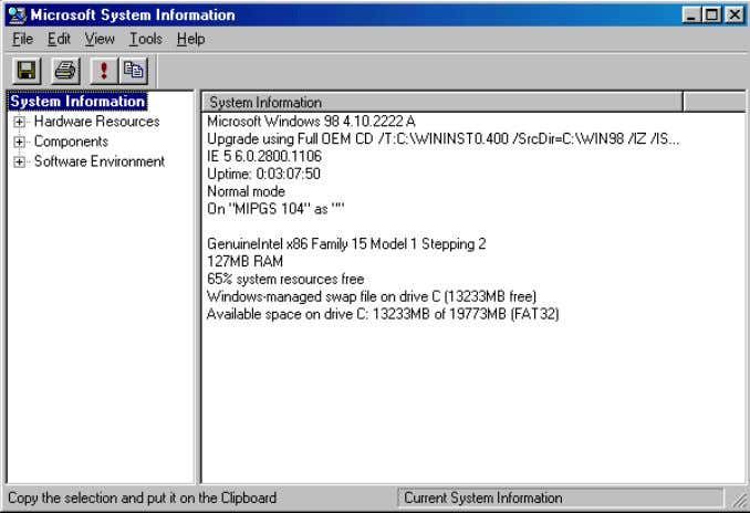-2 63 N a m e : Troubleshooting through software Fig 4.2.4 Microsoft System Information After