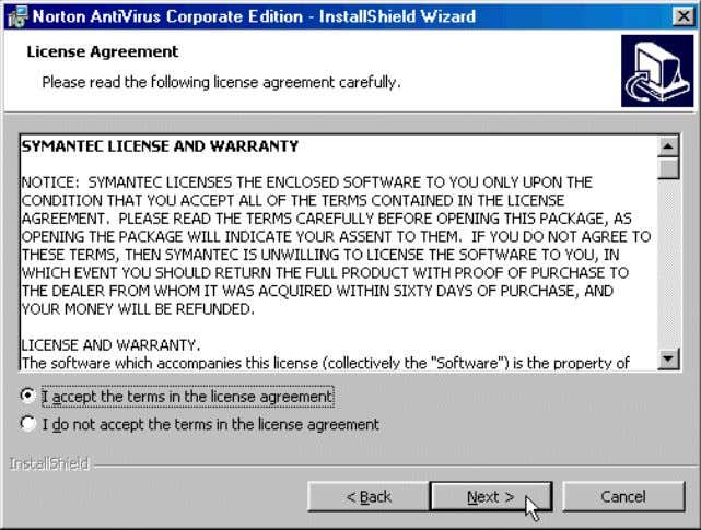 73 Name : Installation of Norton - Antivirus 1. To continue, accept the terms of the