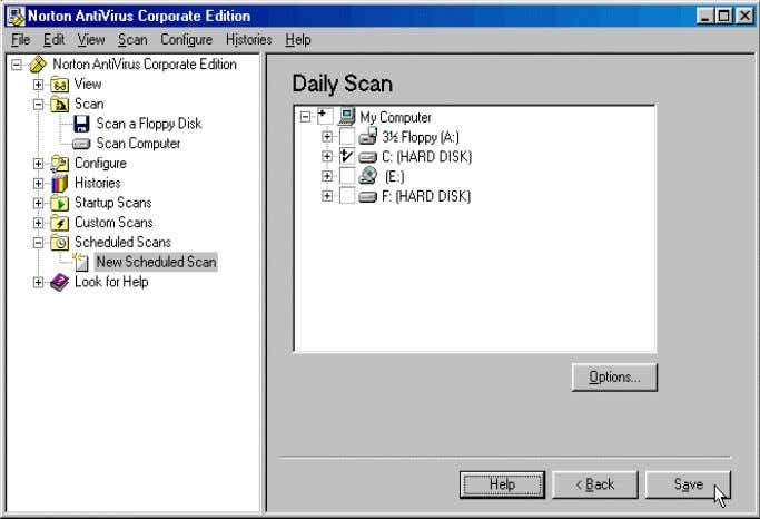 scan by clicking the necessary checkboxes, and click Save . 26 The Daily Scan job which