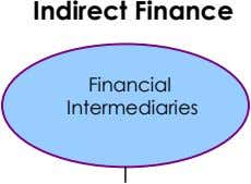 Indirect Finance Financial Intermediaries