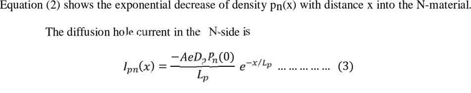 Equation (2) shows the exponential decrease of density p n (x) with distance x into
