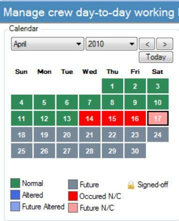 The Time Entry screen has a convenient monthly calendar for the seafarer. By clicking on a