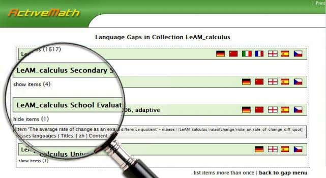 performed for three multilingual ActiveMath courses. Fig. 2. Result page of Linguistic Gap Detection 3.3