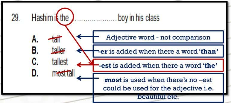 Adjective word - not comparison -er is added when there a word 'than' -est is added