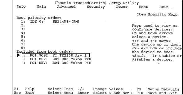 select the Boot menu. 4. Arrow down to highlight PC SCSI: FT TX2300 ARY1. Publication 6177R-IN005B-EN-P