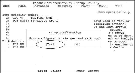 the Enter key to accept Yes and save configuration changes. The system automatically restarts. Publication