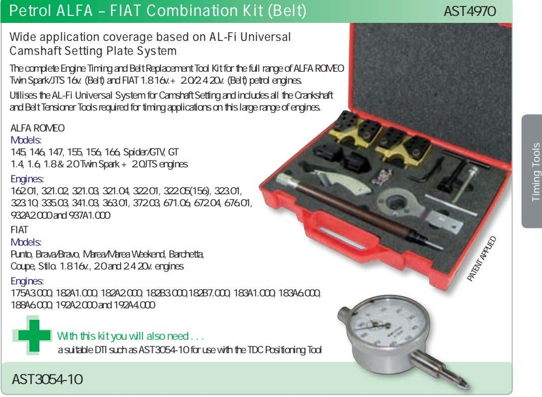 Petrol ALFA – FIAT Combination Kit (Belt) AST4970 Wide application coverage based on AL-Fi Universal