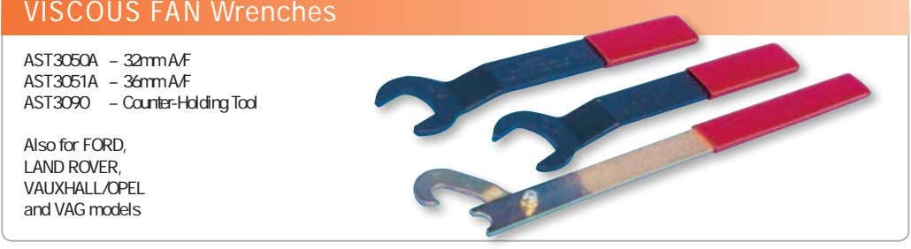 VISCOUS FAN Wrenches AST3050A AST3051A AST3090 – 32mm A/F – 36mm A/F – Counter-Holding Tool