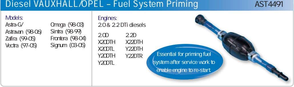 Diesel VAUXHALL/OPEL – Fuel System Priming AST4491 Models: Engines: Astra-G/ Omega (98-03) 2.0 & 2.2