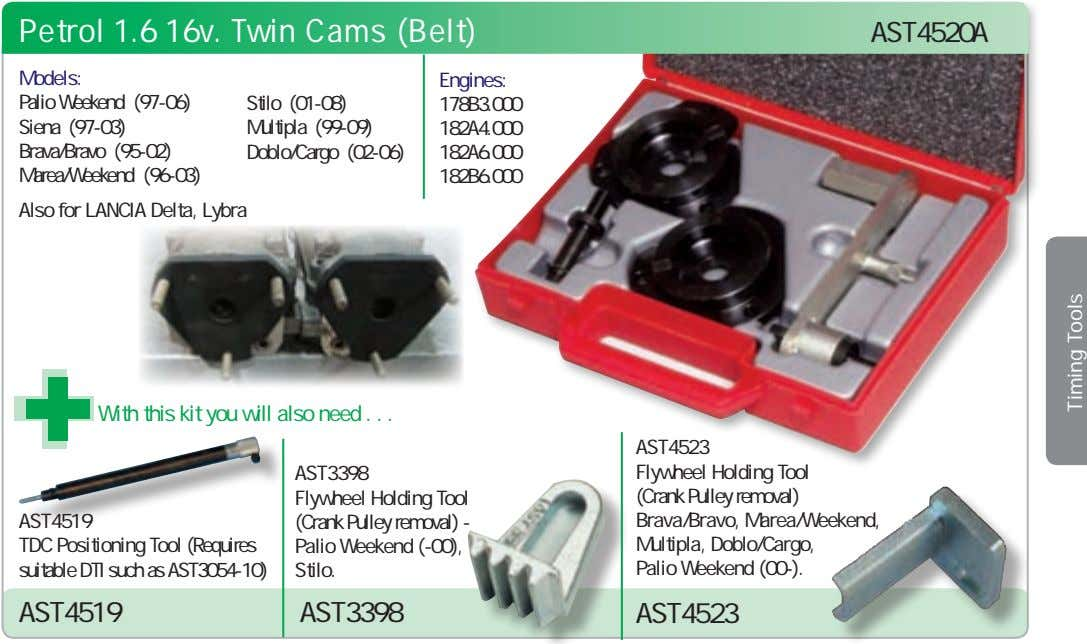 Petrol 1.6 16v. Twin Cams (Belt) AST4520A Models: Engines: Palio Weekend (97-06) Siena (97-03) Brava/Bravo