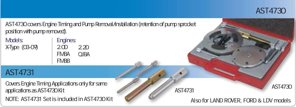 AST4730 AST4730 covers Engine Timing and Pump Removal/Installation (retention of pump sprocket position with pump