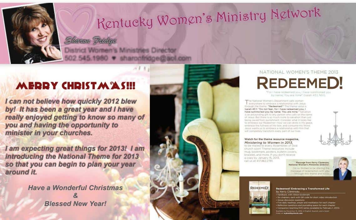 Kentucky Women's Ministry Network Sharon Fridge MERRY CHRISTMAS!!! I can not believe how quickly 2012 blew