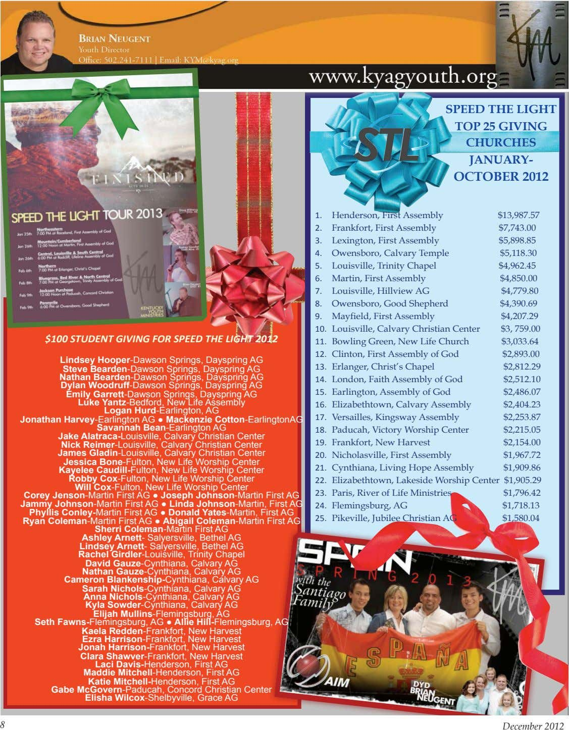 SPEED THE LIGHT TOP 25 GIVING CHURCHES JANUARY- OCTOBER 2012 1. Henderson, First Assembly $13,987.57 2.