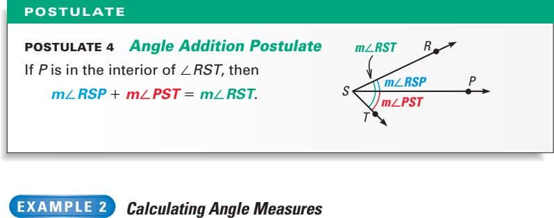 POSTULATE POSTULATE 4 Angle Addition Postulate måRST R If P is in the interior of