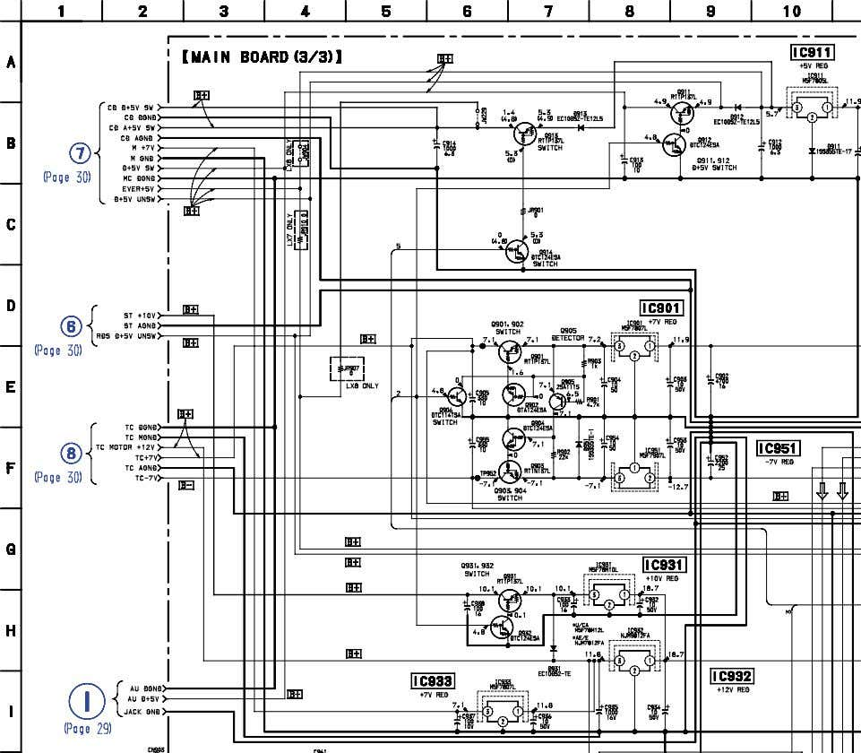 6-8. SCHEMATIC DIAGRAM – MAIN (3/3) SECTION – • See page 28 for Printed Wiring Board.
