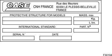 Rue des Meuniers CNH FRANCE 60330 LE PLESSIS-BELLEVILLE FRANCE PROTECTIVE STRUCTURE FOR MODELS MASS. max