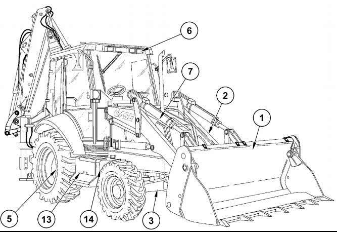 OF MAIN COMPONENTS SIDESHIFT VERSION (590 Super R) 9 10 1. Loader bucket 2. Loader arm