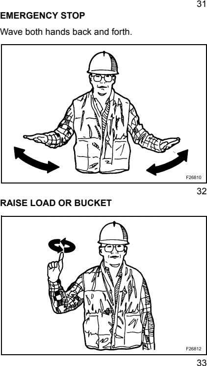 31 EMERGENCY STOP Wave both hands back and forth. 32 RAISE LOAD OR BUCKET 33