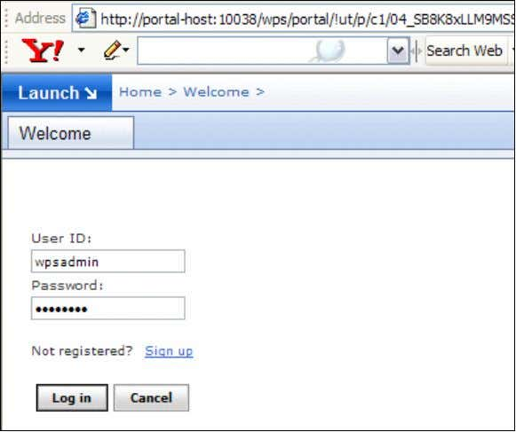 admin) using the URL http://portal-host:1003/wps/portal. Step 9: Click on Launch and select Administration link.