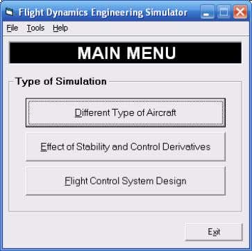 of simulation, selection of aircraft and head-up display. Figure 13 FDES program shows option to select