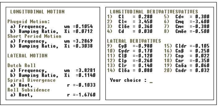 Figure 4. Main simulation screen Figure 5: Variable stability aircraft menu (right menu). Phase IV A