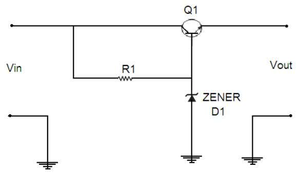 • Variable resistor • Power Supply Circuit Diagram: THEORY: Simple series voltage regulator: Adding an emitter