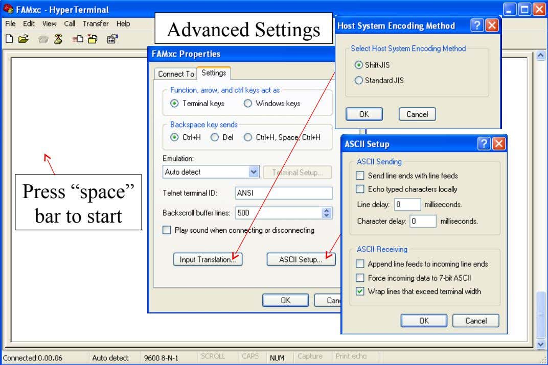 "Advanced Settings Press ""space"" bar to start"