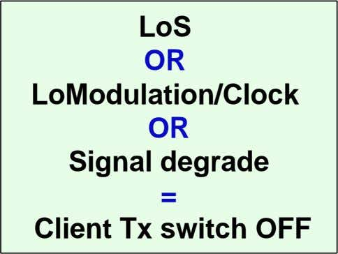 LoS OR LoModulation/Clock OR Signal degrade = Client Tx switch OFF