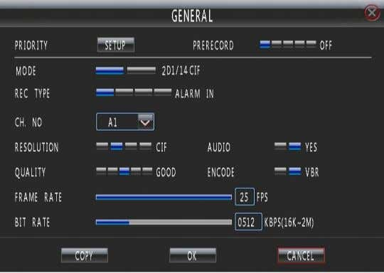 "Enter ""Main Menu - Rec—General"" as shown in Fig. 27. Fig. 27 In this interface, you"