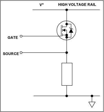 drop across its terminals, can be summarized as follows: V + HIGH VOLTAGE RAIL GATE SOURCE