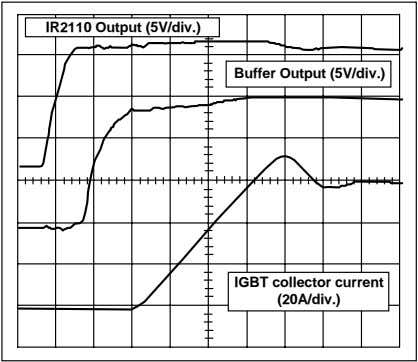 by R1 and the input capacitance of the output transistor. IR2110 Output (5V/div.) Buffer Output (5V/div.)