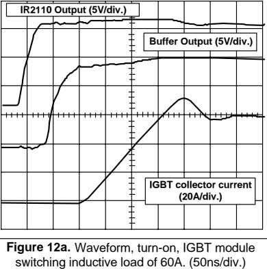 IR2110 Output (5V/div.) Buffer Output (5V/div.) IGBT collector current (20A/div.) Figure 12a. Waveform, turn-on, IGBT