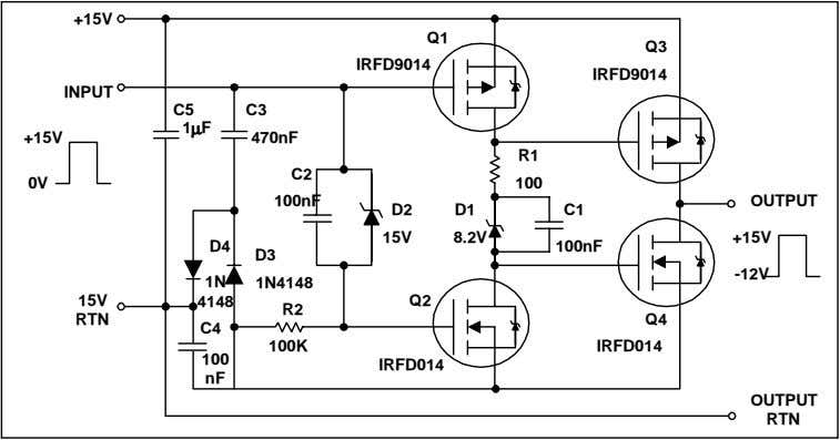 Q2 RTN Q4 C4 100K IRFD014 100 IRFD014 nF OUTPUT RTN Figure 20. Buffer with negative