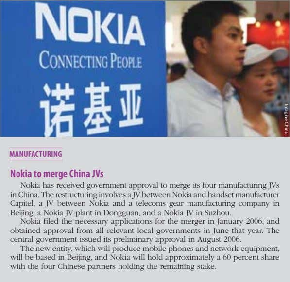 Imagine China Nokia to merge China JVs Nokia has received government approval to merge its