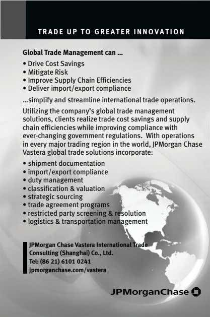 TRADE UP TO GREATER INNOVATION Global Trade Management can … • Drive Cost Savings •