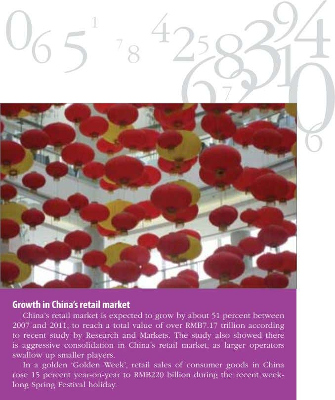 Growth in China's retail market China's retail market is expected to grow by about 51
