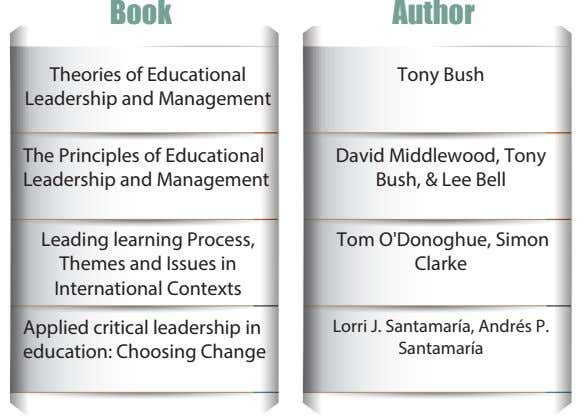 Book Author Theories of Educational Leadership and Management Tony Bush The Principles of Educational Leadership
