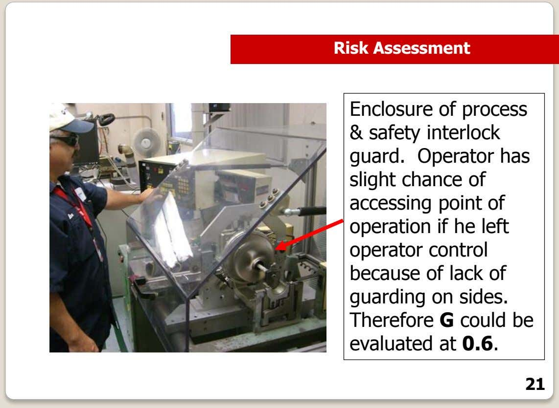 Risk Assessment Enclosure of process & safety interlock guard. Operator has slight chance of accessing