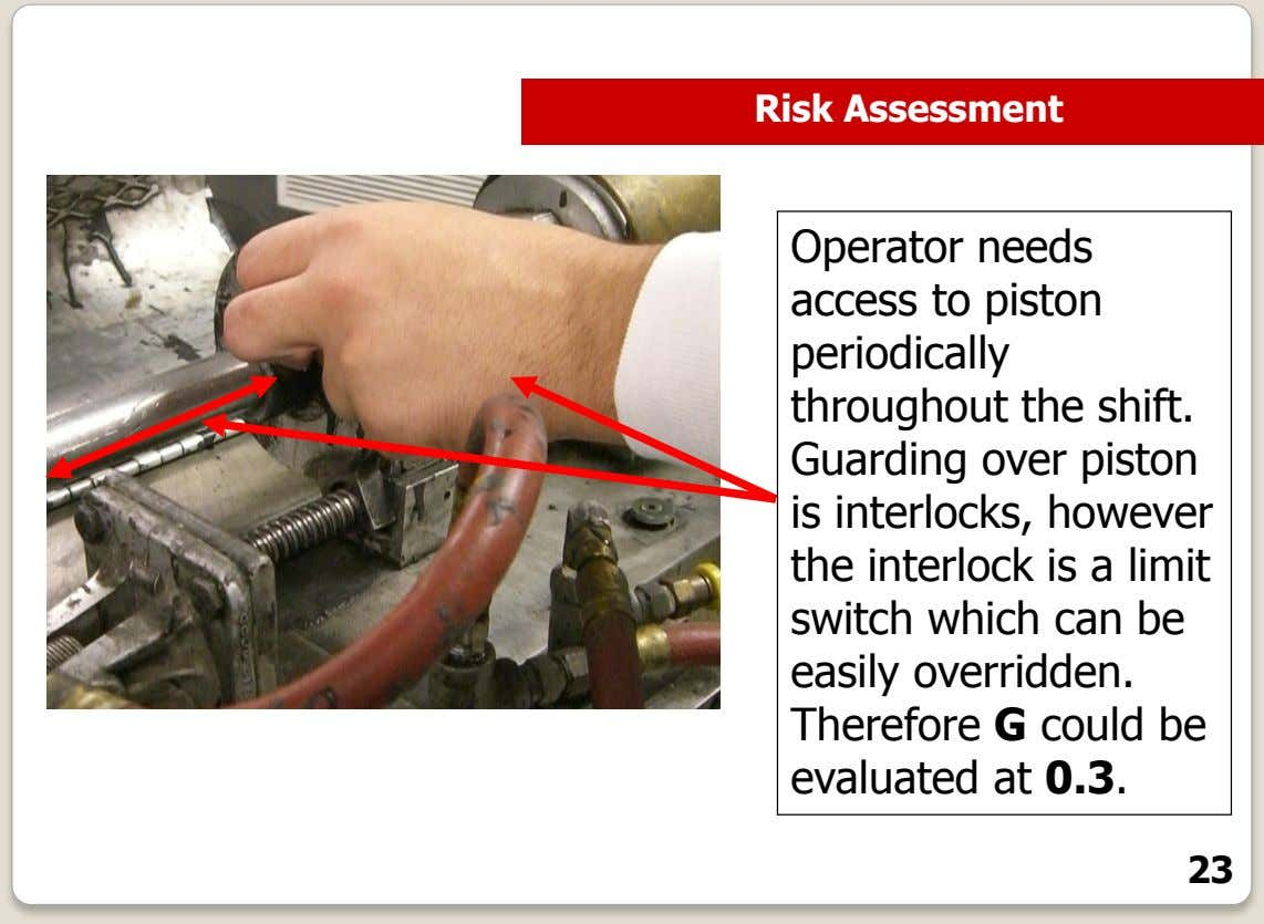 Risk Assessment Operator needs access to piston periodically throughout the shift. Guarding over piston is