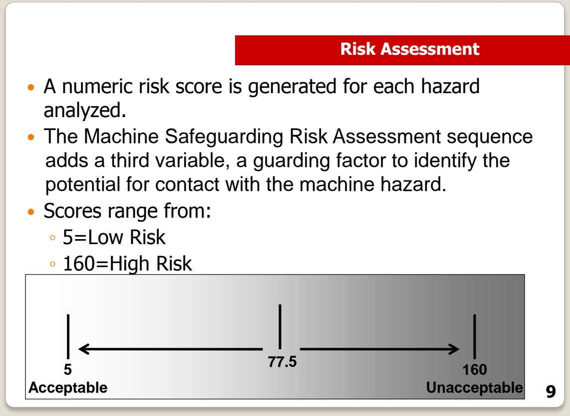 Risk Assessment  A numeric risk score is generated for each hazard analyzed.  The