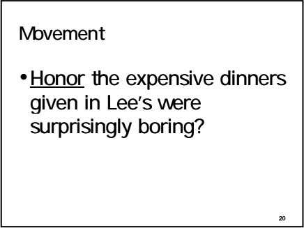 MovementMovement ••HonorHonor thethe expensiveexpensive dinnersdinners givengiven inin Lee'sLee's werewere