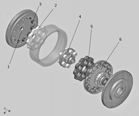 Fig. 4 A disassembled two-stage cycloidal speed reducer of the new design • There are
