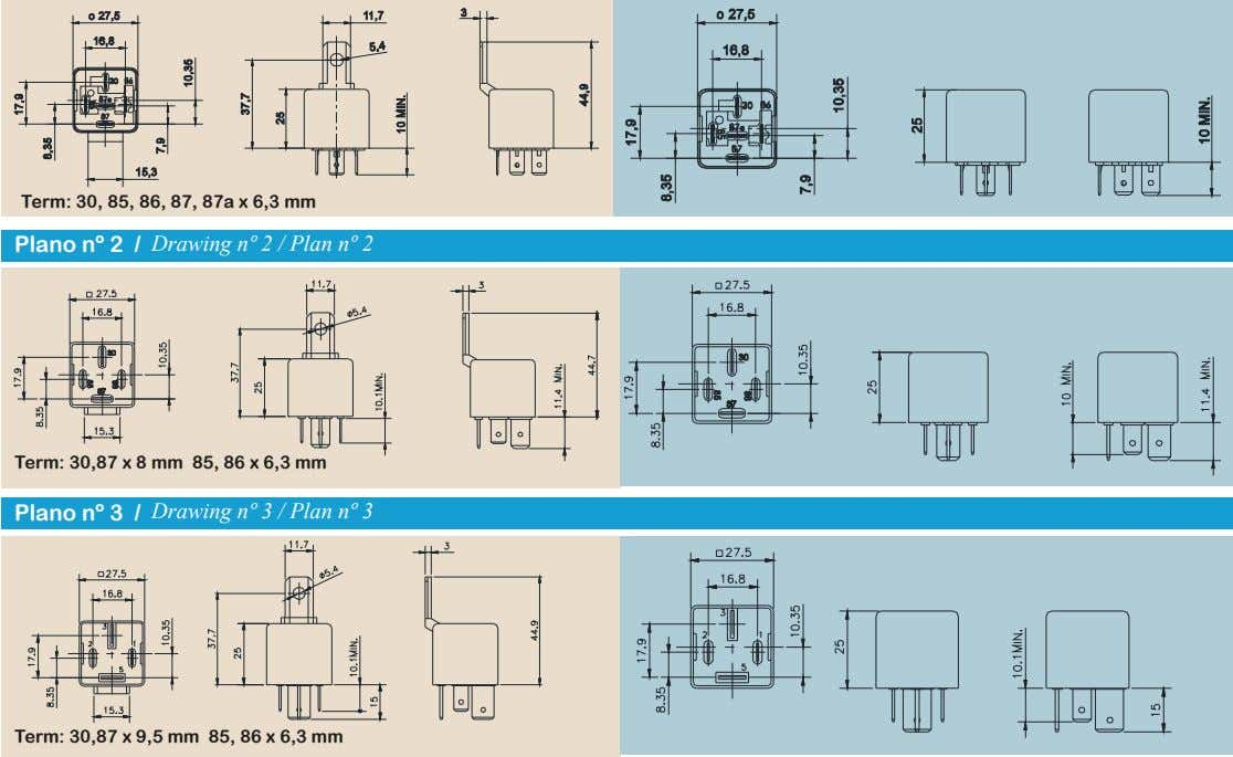 Term: 30, 85, 86, 87, 87a x 6,3 mm Plano nº 2 / Drawing nº