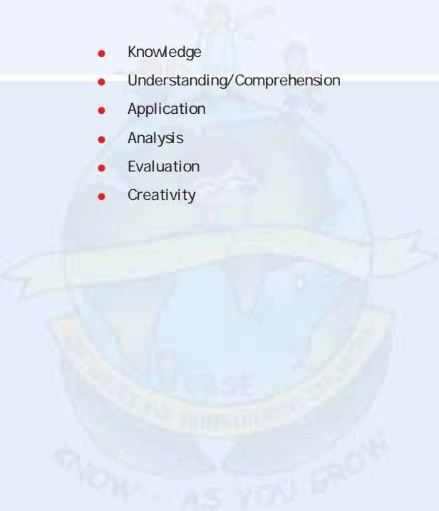 Knowledge Understanding/Comprehension Application Analysis Evaluation Creativity