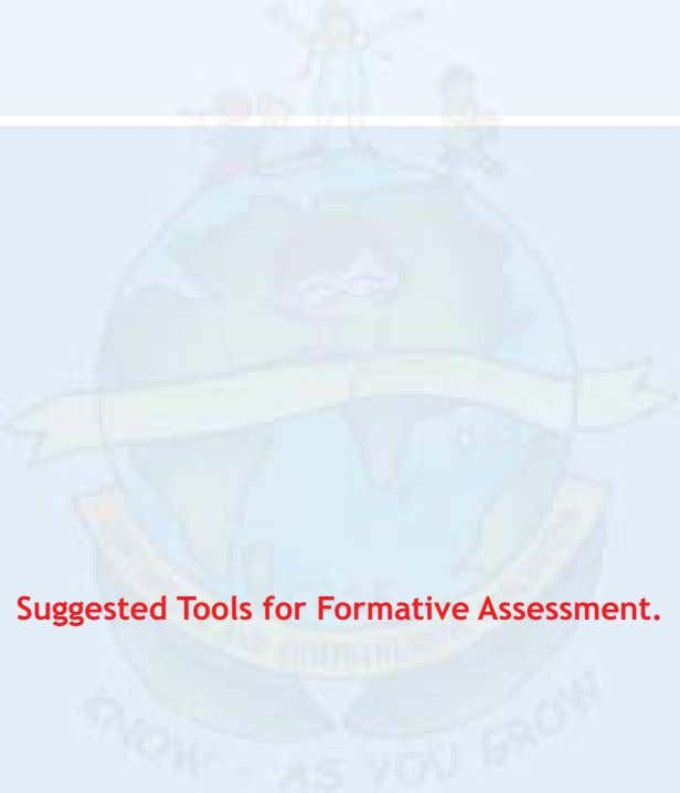 Suggested Tools for Formative Assessment.