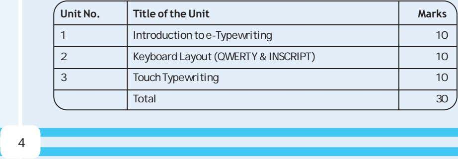 Unit No. Title of the Unit Marks 1 Introduction to e-Typewriting 10 2 Keyboard Layout
