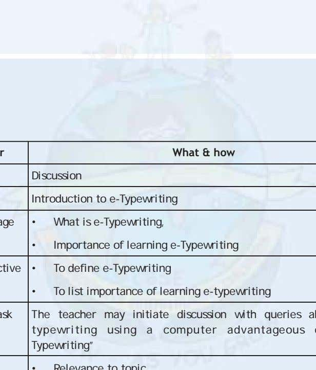 What & how Discussion Introduction to e-Typewriting • What is e-Typewriting, • Importance of learning